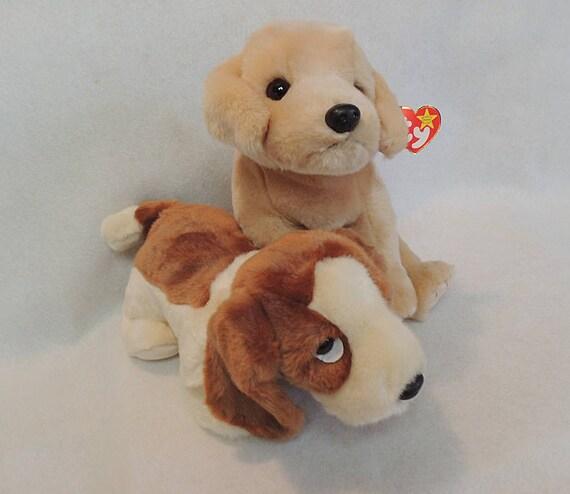 2 Ty Beanie Buddies Puppies / Dogs.. Fetch The Retriever & Tracker Basset Hound.. Retired NWMT