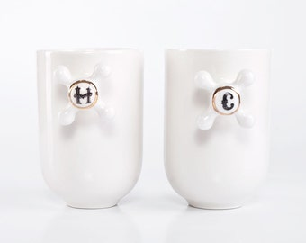 Big Coffee Mugs, Set of Two Handmade Porcelain Mugs, Toothbrush Holders, Bathroom Accessories