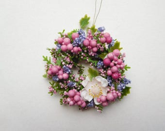 Dollhouse Wreath in Shades of Lavender and Pink for 12th Scale