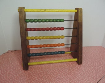 Vintage 60s child's wood abacus Beaded Math Board Counting Board Vintage Learning Games