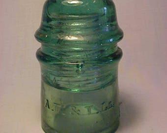 c1890s A. T. & T. Co. Aqua Glass Telegraph Telephone Insulator