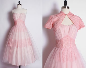 1950s 50s PINK prom party dress, Vintage Prom Dress, 1950s Party dress, pink cupcake dress with bolero