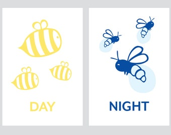Children's Art, Day and Night with Bees and Fireflies Print