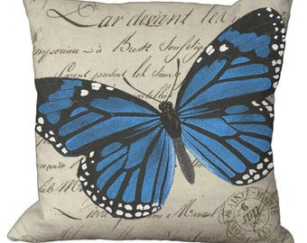 Blue Monarch Butterfly 20x20 or 18x18 or 16x16 or 14x14 Inch Pillow Cover