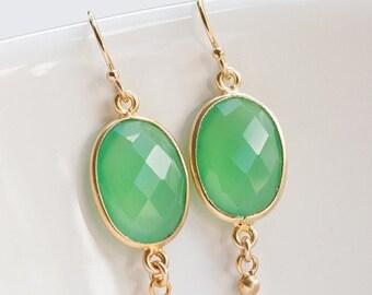 40 OFF - Mint Chrysoprase Earrings - Oval Gemstone Earrings - Gold Earrings - Drop Earrings