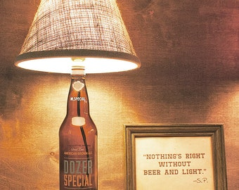 Glass, Bottle Lamp, Handmade, Gift, M. Special, American Brown, Ale, Free US Shipping