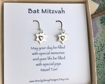 Sterling silver star of David earrings, Bat Mitzvah gift, Hanukkah, six sided, Jewish jewelry E240
