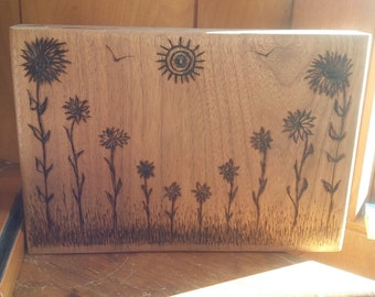 Pyrography on solid mahogany, a flower garden desktop sign