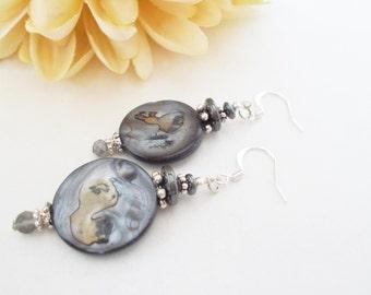 Mother of Pearl Earrings, Statement Earrings, Hematite Earrings, Boho Jewelry, Slate Blue Gray Earrings, Birthday Gift Her, Gypsy Earrings