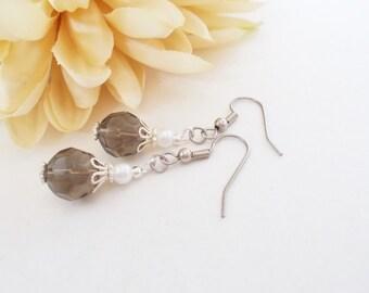 Flower Girl Earrings, Gray Crystal Bridal Earrings, White Pearl Drop Earrings, Sterling Silver, Nickel Free, Junior Bridesmaids Earrings
