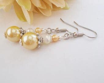 Yellow Gold Pearl Earrings, Lemon Yellow Bridesmaid Jewelry, Maid of Honor Gift, Crystal Wedding Earrings, Gift for Her, Sterling Silver