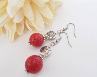 Red Coral Earrings, Sterling Silver Jewelry, Clip On Earrings, Birthday Gift for Her, Red Drop Earrings, Boho Jewelry, Red Dangle Earrings
