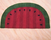 Watermelon slice wool penny rug