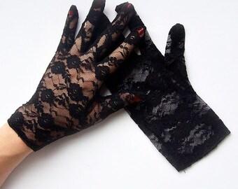 Gracie Black Lace Gloves
