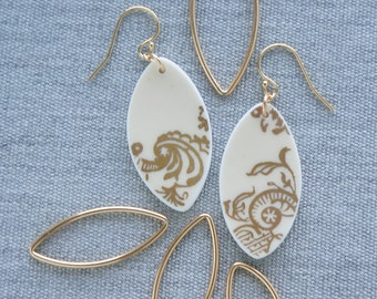 Aster Scrolls Earrings Broken Recycled China Jewelry Material and Movement