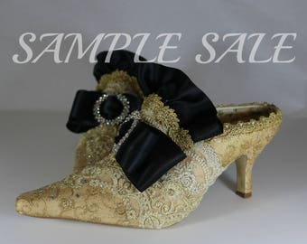 Sample Sale .. Marie Antoinette Gold and Black shoes.. Marie Antoinette slippers . Marie Antoinette glittery shoes . Golden slippers