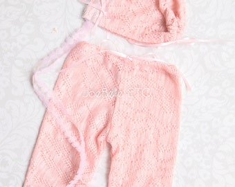 Lace bonnet Classic Pink Lace Pants & newborn Bonnet for baby girls and photo prop and Valentine's Day