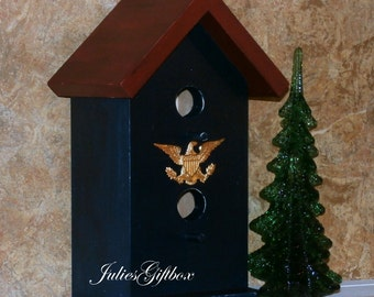 Hand Crafted Duplex Bird House - AMERICANA STYLE - Brass Eagle
