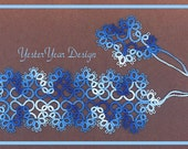 Tatted Lace Bookmark by Jan - Shades of Blue Flowers