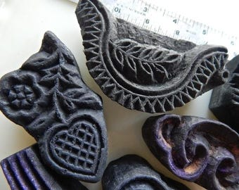 Wood textile stamps fabric block printing vintage India