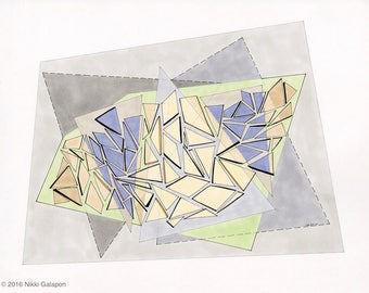 Archival PRINT of original pen and ink drawing abstract geometric modern art grey green yellow purple triangles 3D shapes
