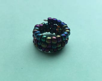 SALE, Iridescent ring, memory wire ring, beaded ring, stacked ring, wrap ring, colourful ring, adjustable ring, wire ring, statement ring