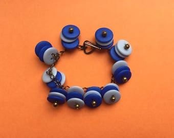 Charm bracelet, blue button bracelet, blue bracelet, chain bracelet, quirky bracelet, button bracelet, quirky jewelry, statement jewellery