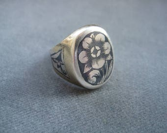 Vintage Niello Sterling Silver Ring / Gold Plated / Art Nouveau Floral Style Flower