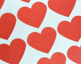 """30 Red Heart Stickers, Party Favor Stickers, Wedding Favor Stickers, Valentine's Heart Stickers - (2"""" x 2"""")"""