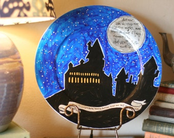 "Hogwarts Decorative Platter - Hand painted - Large dinner plate - Hogwarts Castle - Dumbledore quote ""Step out into the night"" with moon"