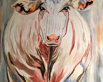Grace - White Cow Painting