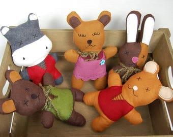 Wool felt stuffed animals