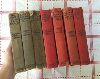 Lot of 7 X Bar X Boys Books, James Cody Ferris Vintage Hardcover Novels Western Fiction