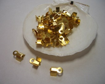 50 gold plated crimp ends, ca. 4 x 9mm nice quality crimp ends, fold over crimp ends, crimp end caps, golden, crimp beads, findings, gold