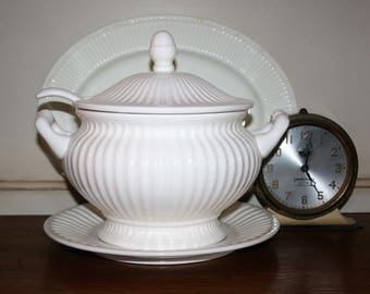 Vintage White Ribbed Ironstone Covered Soup Tureen with Ladle and Under Plate Excellent Condition Unmarked 4 Piece Set