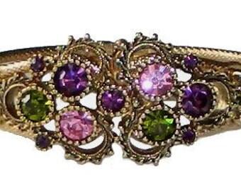 Vintage Rhinestone Clamper Bangle Bracelet