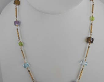 Faceted gemstone cubes with antique pocket watch chain