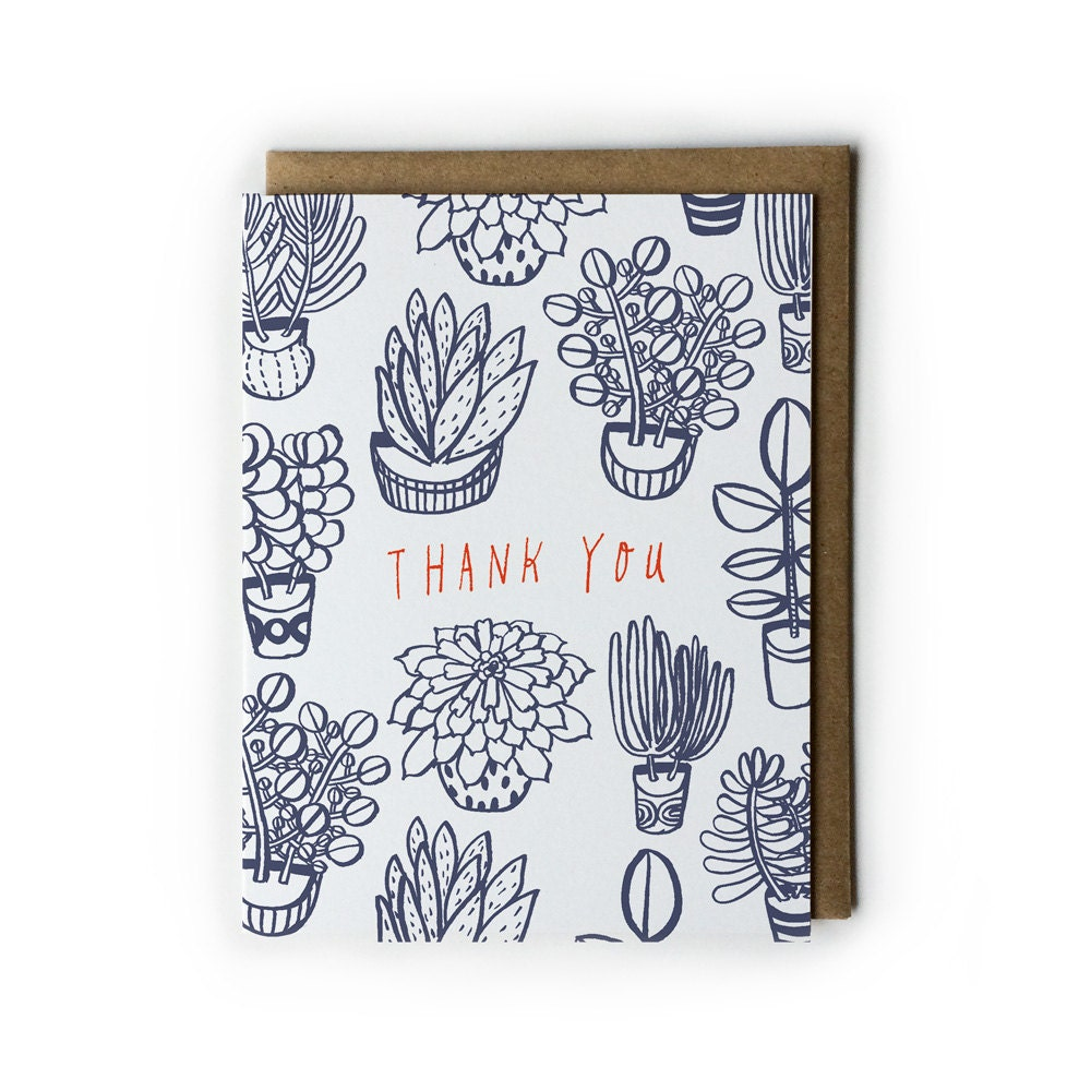 Line Art Thank You : Thank you card succulent plants illustration line drawing
