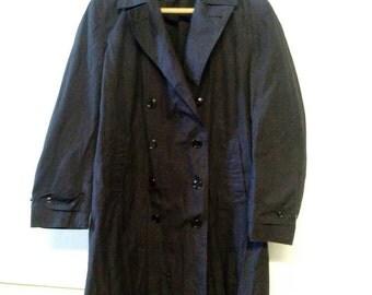 US Military Navy Blue Trench Coat Overcoat Size Large 1960s Era