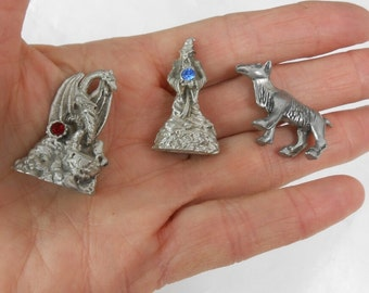 Vintage Gallo Pewter miniatures dragon with ruby wizard with sky blue topaz goat miniature pewter figurines wiccan magik Griffin numbered