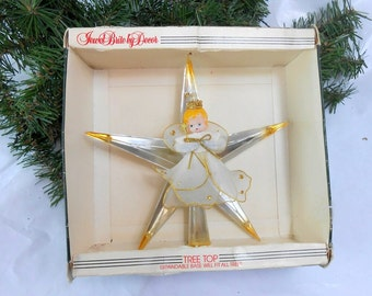 Vintage tree topper angel tree topper blow mold angel silver and gold star tree topper Jewel Brite tree topper Vintage Christmas