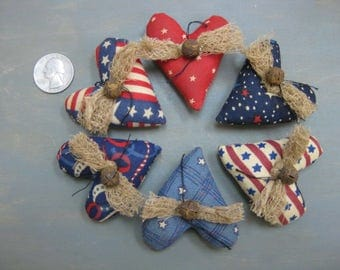 Americana Heart Bowl Fillers - Set of  6 - Country Primitive  - Patriotic Stuffed Small Hearts - Grungy Fabrics - July 4th -Red White Blue