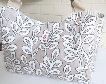 Large Bella Bag Made With Cream & White Print Oilcloth