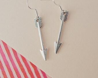 Silver Arrow Earrings, Arrow Drop Earrings, Adventure Jewellery, Teenage Gift, Arrow Charms, Arrow Jewellery, Arrow Jewelry