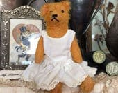 A Small Vintage Mohair Teddy Bear Looking Quaint In Cotton