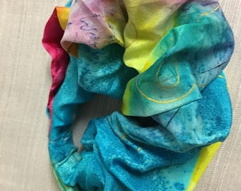 Two Handpainted Silk Scrunchies  in Jewel Like Colours by The Silk Maid
