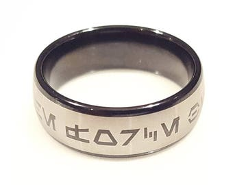 May the Force be With You Aurebesh Jedi Tungsten Carbide Men's Ring