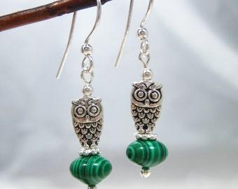 Malachite Owl Silver Earrings