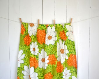 Flower Power Curtain Panels - Lime Green Orange White 1960s Vintage Curtains - 3 Available
