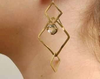 Geometric Brass Earrings, Golden Dangle Earrings, Amethyst Gem Stones, Statement Cocktail Large Dangle Earrings, Long Boho Earrings